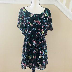 Lush | Black floral low back dress M